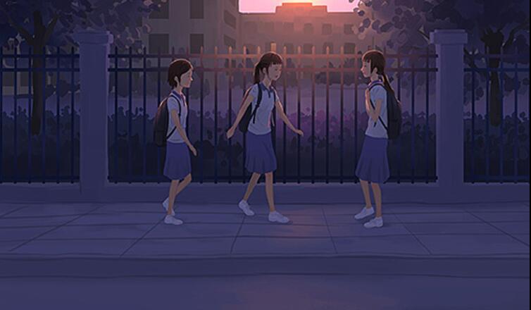 校园外女生们叽叽喳喳讨论着