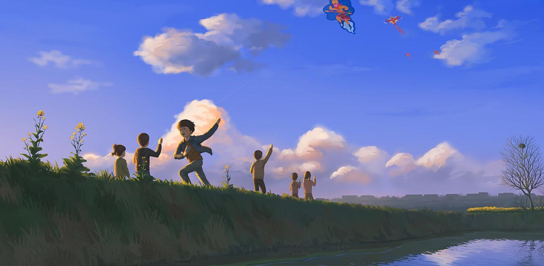 那些田埂上放风筝的身影