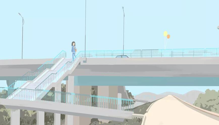 走在人行天桥上思绪万千