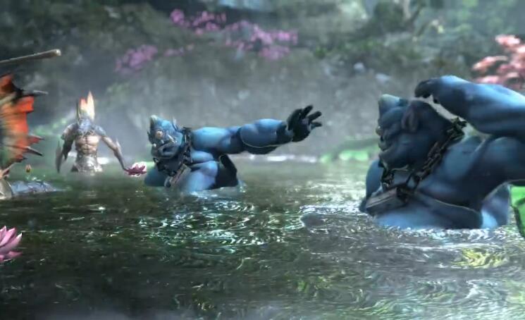 怪物们都被困在了水潭里
